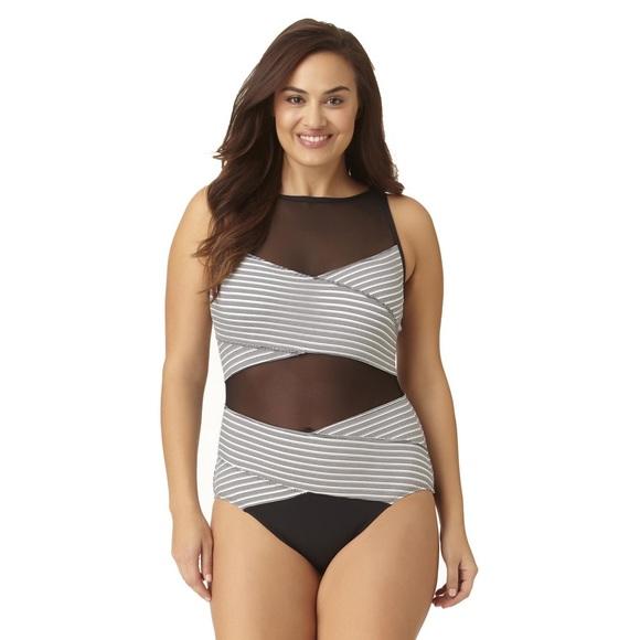 c1b22113749 🍭HP🍭ANNE COLE Mesh CrissCross High Neck Swimsuit